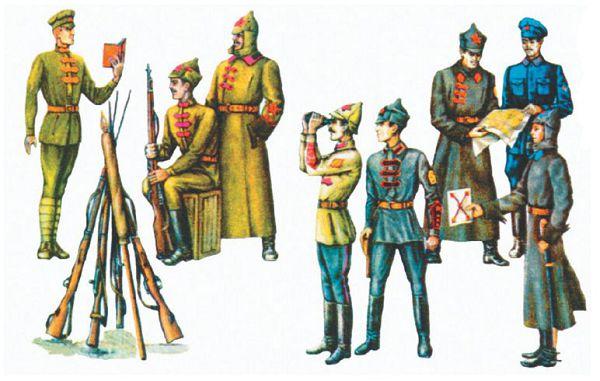 Образцы обмундирования красноармейцев и командиров Красной Армии в 1919—1922 гг.