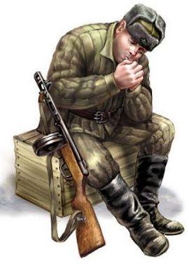 Советский пехотинец в зимней полевой форме 1941—1943 гг